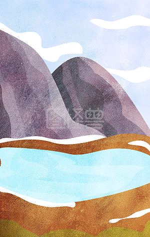 Minimalistic illustration of textured landscape background