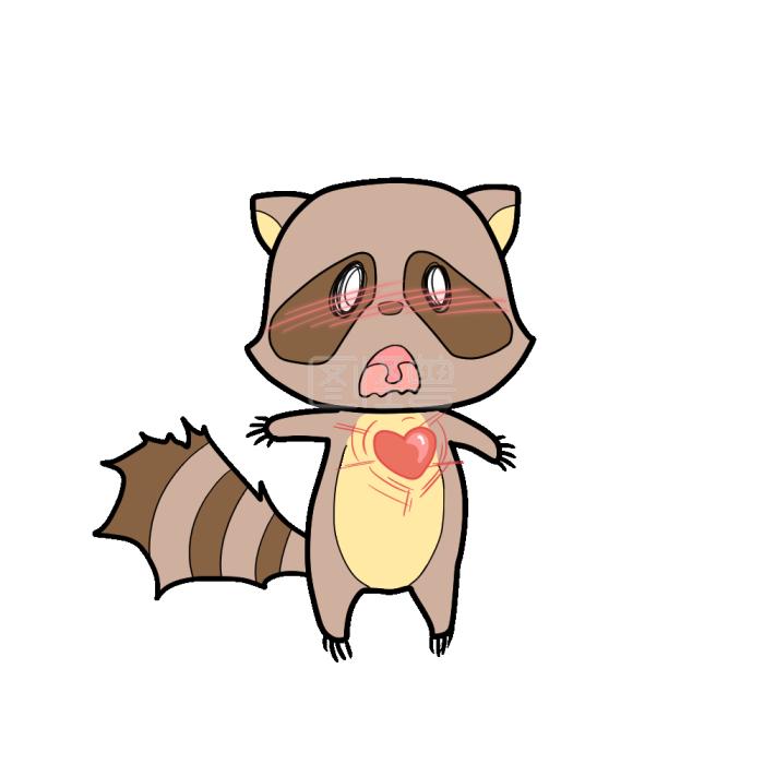 浣熊+心跳+图片表情包到没表情卡通痛图片
