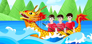 Cartoon hand drawn dragon boat festival dragon boat