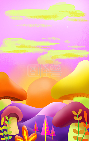Illustration monster original element mushroom flower purple color match