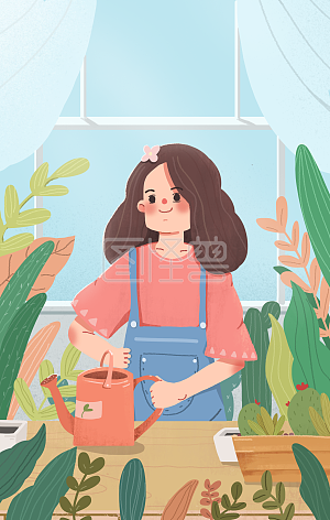 Illustration monster original element day sign small fresh garden girl