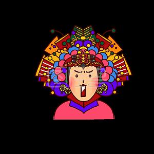 Illustration monster original element national tide wind beijing opera girl