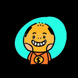 Illustration monster original element hair loss boy happy hee
