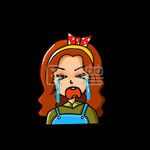 Illustration monster original element cartoon girl crying runny emoji pack illustration element