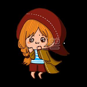 Illustration monster original element little red riding hood girl cute emoji pack illustration element