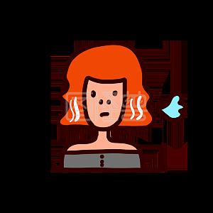 Illustration monster original element cartoon red hair sigh sigh expression pack illustration element