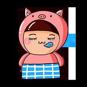 Illustration monster original element cartoon pink cute pig good night