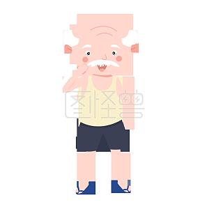 Angry grandpa cartoon character illustration monster original material