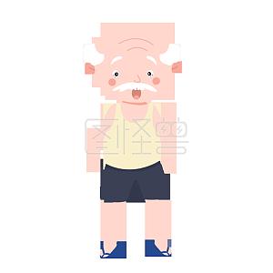 Surprised grandpa cartoon character illustration monster original material