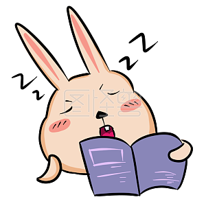 Figure monster original element sleepy rabbit expression pack as soon as reading a book