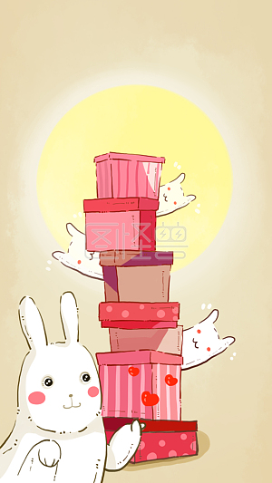 Illustration monster original element mid autumn festival rabbit than