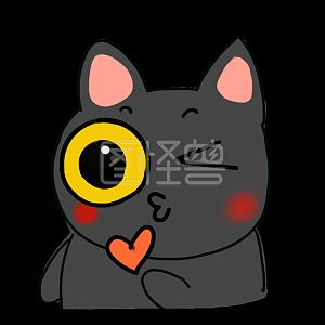 Illustration monster original element cartoon style little black cat emoji pack love you illustration elements