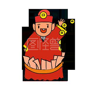 Illustration monster original element cartoon wind fat god of wealth