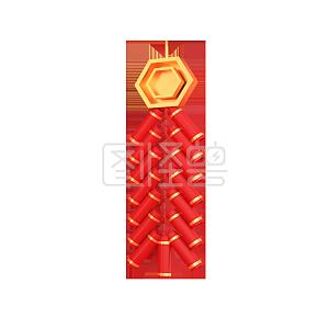 Figure monster original element C4D stereo red minimalist firecracker decoration
