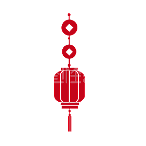 Illustration monster original element red atmospheric paper cut minimalist style lantern element