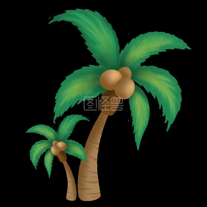 图怪兽原创卡通学校椰子树南昌平面设计v怪兽素材图片