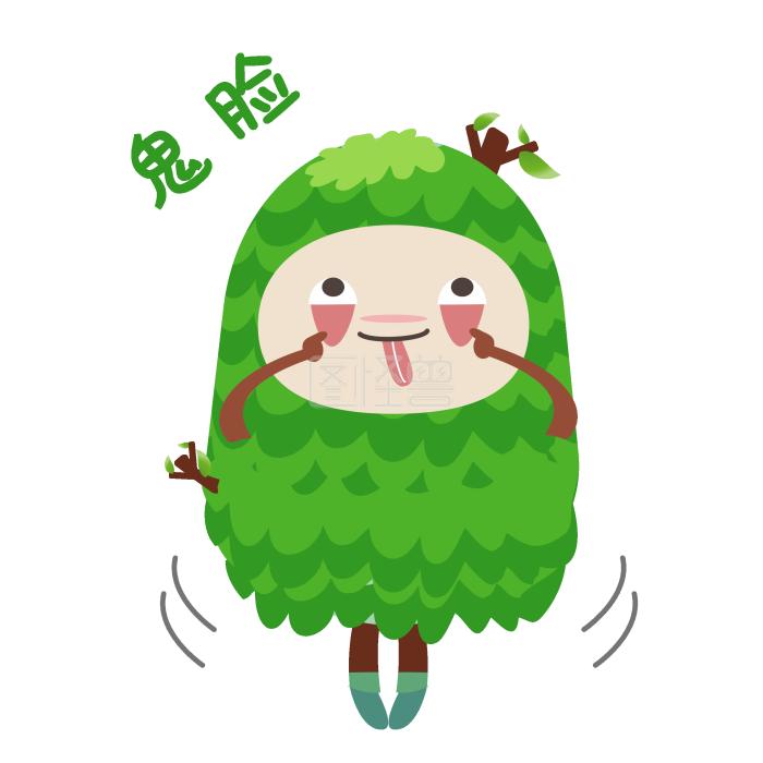 扮鬼脸手绘表情绿色人小树马情表包大司图片