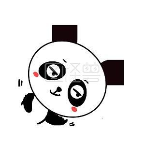Q版可爱背影歪头小卡通表情小熊猫打招呼表情包动物动画