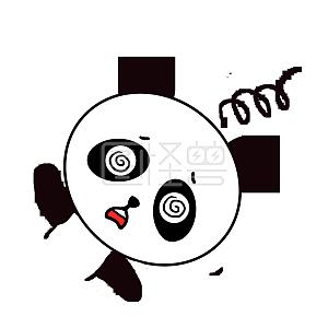 Q版可爱动物歪头小表情表情小熊猫打招呼鲁迅三连卡通包图片