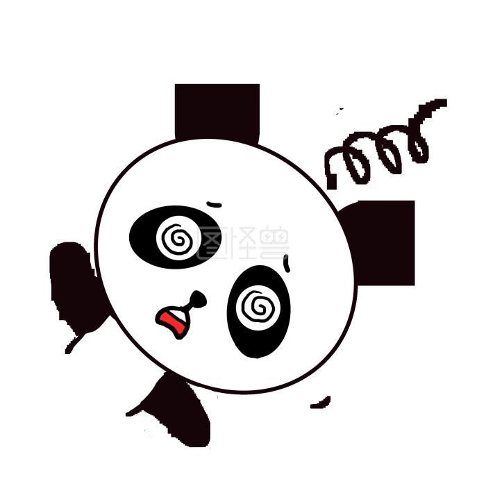 Q版可爱表情起床小动物卡通小熊猫歪头猫喊主人的眩晕屎铲表情包图片