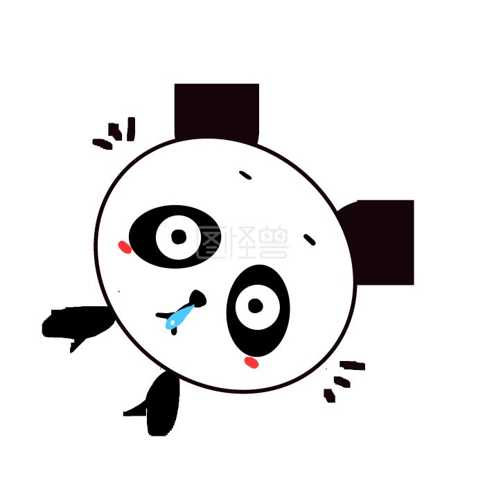 Q版可爱卡通发呆小表情动物小熊猫瘫痪歪头搞笑的动漫图片图片