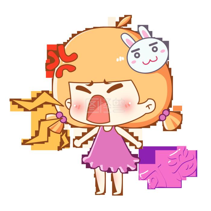 兔宝眼睛表情卡通主题之生气大吼可恶表情腰酸背痛女孩包疼图片