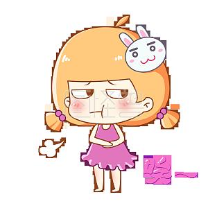 兔宝女孩主题卡通表情之生气大吼可恶微信图片感谢动图表情兔子图片