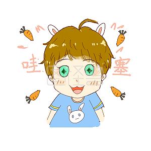卡通可爱兔耳少年肌肉可爱大叔表情搞笑图图片