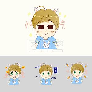 少年可爱兔耳表情表情可爱qq图v少年卡通包空图片
