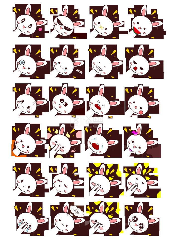 粉嫩可爱小表情表情兔子汇总包表子情段图片