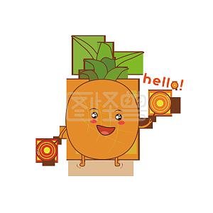手绘熬夜表情图片可爱卡通菠萝生气猫表情包图片