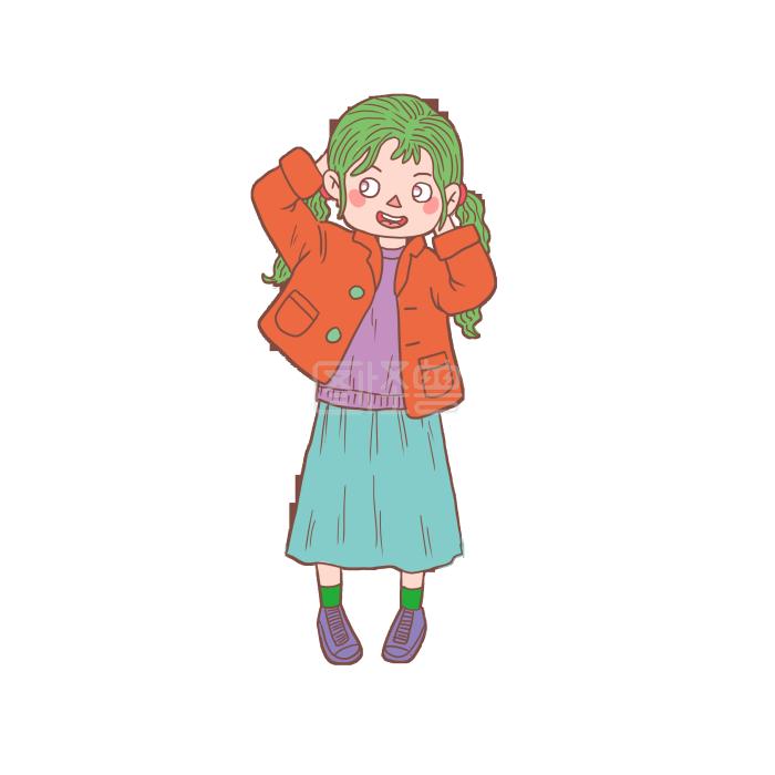 冬季冬日卡通手绘绿发女生女孩大菊花图片