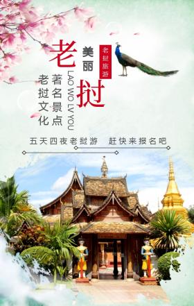 老挝旅游旅游文化孔雀创意手机海报