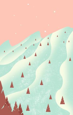 图怪兽原创背景白雪风景背景插画