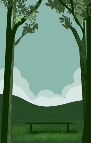 图怪兽原创背景公园风景背景插画