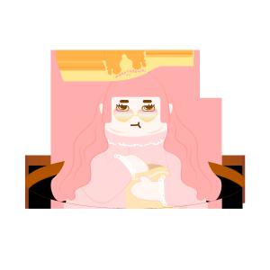图怪兽原创元素扁平吃货红发卡通半身女王