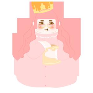 图怪兽原创元素扁平吃货粉色卡通女王