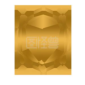 金色多边形边框装饰元素插画