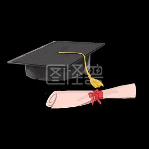 高考学术帽毕业图怪兽原创元素黑色