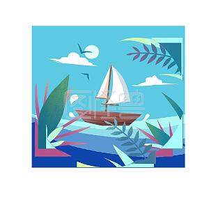 夏天小船风景植物素材