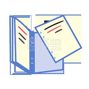 图怪兽原创元素扁平高考开学 学生文具 书 文件夹