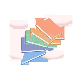 高考多彩云端书籍阶梯手绘插画元素