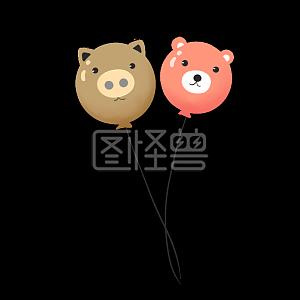 儿童节小熊气球手绘插画