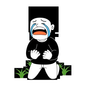 卡通炸毛男孩哭泣