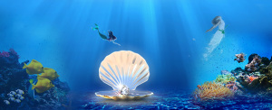 淘宝化妆品护肤品面膜海底贝壳珍珠珊瑚背景banner