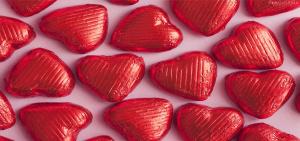 红色心形巧克力美食海报
