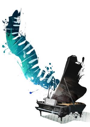 手绘水彩钢琴背景图