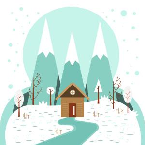 卡通白雪森林背景