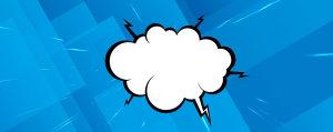 蓝色几何卡通爆炸气泡框背景