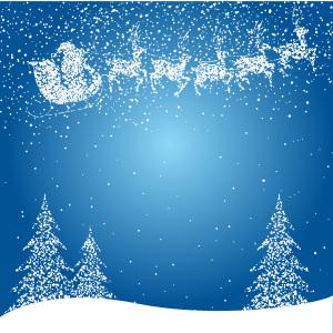 梦幻蓝天白雪圣诞老人麋鹿